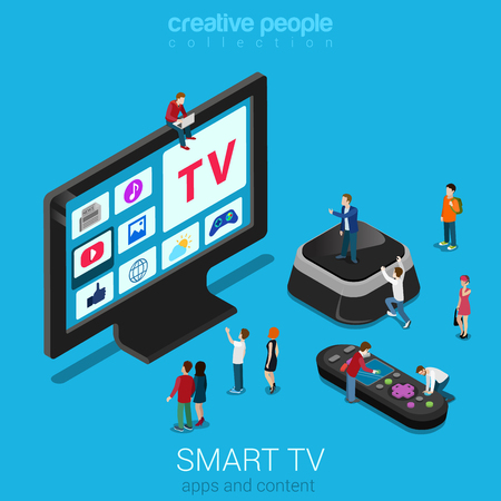 hyper: Smart online internet ip tv flat 3d web isometric infographic. Next generation IPTV television. Micro people crowd hyper trophic screen set top box remote controller. Creative technology collection.