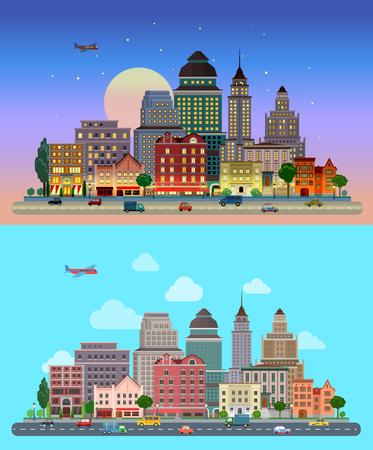 フラット漫画市は、昼と夜の日没を設定します。道路高速道路通りトランスポート通り交通ビル高層ビル ビジネス センター オフィスの行の前に。  イラスト・ベクター素材