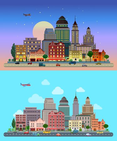 city background: Flat cartoon city set day and sunset night. Road highway avenue transport street traffic before line of buildings skyscrapers business center offices. Urban life lifestyle collection. Illustration