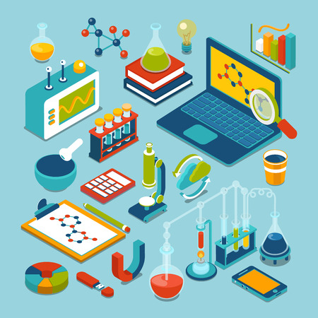 Science research lab technology objects icon set flat 3d isometric modern design template. Laptop flask microscope bulb pounder chemical formula calculator oscilloscope process reacion collection