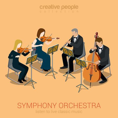 orquesta: Cl�sico orquesta sinf�nica cuarteto de cuerda plana Web 3d isom�trica concepto infograf�a vector. Grupo de j�venes creativos que juegan en instrumentos escena de concierto teatro de �pera. clarinete viol�n cello.