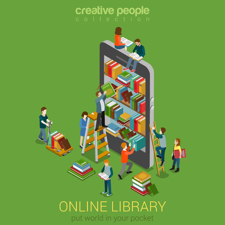 reading books: Online mobile library creative modern 3d flat design web isometric concept. Library shelfs in smart phone tablet micro people on ladders reading put take off books. World knowledge in pocket.