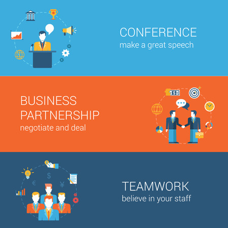 business teamwork: Business people lifestyle concept flat vector icon banners template set. Conference, presentation, partnership, handshake, contract, deal, teamwork. Web illustration. Website infographics elements.