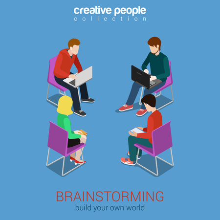 unrecognizable person: Brainstorming group of people flat 3d web isometric infographic concept vector. Build your own world creative people collection.