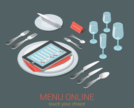 checklist: E-menu electronic mobile device menu meal seat online order reservation flat 3d isometric cafe restaurant infographic web concept template. Phone tablet checklist on empty plate cutlery kitchen glass.