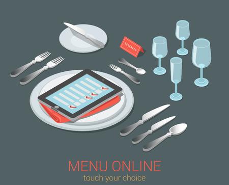 E-Menu siège de repas de réservation en ligne de commande de menu de l'appareil mobile plat 3d café restaurant isométrique web infographie concept de modèle électronique. Téléphone liste de contrôle de la tablette sur la plaque de verre vide de cuisine à couverts.
