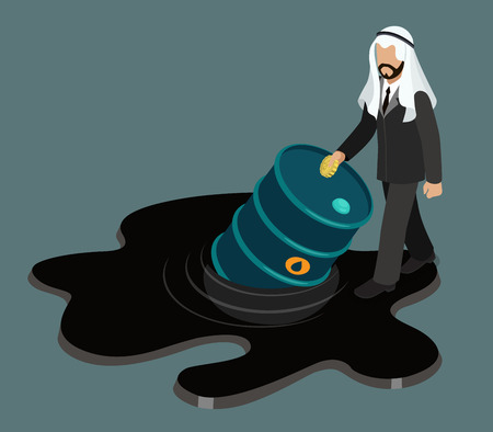 slick: Oil price drop concept flat 3d web isometric infographic vector. Arabic sheikh businessman stepping into black oil petroleum slick and half sunken barrel.