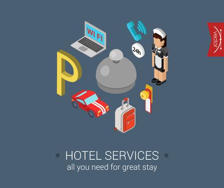 mucama: Iconos del servicio del hotel plana 3d pixel art isométrico diseño moderno concepto de vector. Maid, señal de aparcamiento, ordenador portátil wifi, maleta del carro. Ilustración Web sitio web clic infografía.