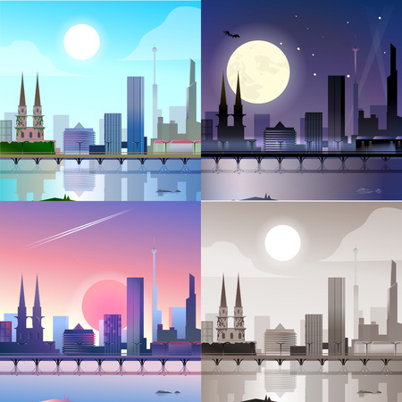city at night: Flat modern city scape historic buildings skyscrapers embankment bridge scene set. Stylish web banner landscape collection. Daylight, night moonlight, sunset view, retro vintage picture sepia.