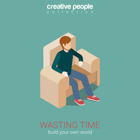 cosy: Wasting time, leisure flat 3d web isometric infographic concept vector. Young man sitting on cosy chair. Build your own world creative people collection. Illustration