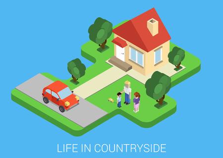 campestre: Vida plana estilo isométrico en el campo concepto. Familia césped frente a la casa, auto estacionado. Arquitectura, la gente, el transporte, la naturaleza elementos de diseño y objetos. Colección mundial isométrica.