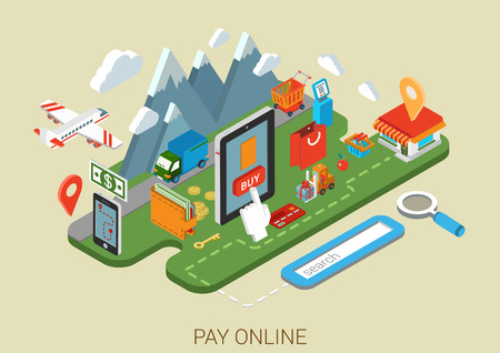 proceso: Sitio web de proceso en línea plana compras por Internet concepto isométrica infografía 3d. Tienda de comercio electrónico en la tableta, terminal de pago. Término buscado, compra, pago y envío, pago, entrega, iconos envío collage.