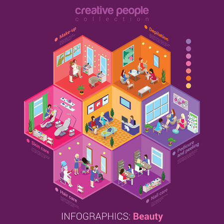 shop: Beauty shop make-up body hair skin nail care peeling service flat 3d isometric infographics concept vector. Abstract interior room cell customer client visitor staff. Creative people collection.