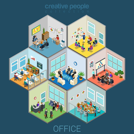 business center: Flat 3d isometric abstract office interior room cells company workers staff concept vector. Reception, meeting conference, training class, accounting, open space. Creative business people collection.