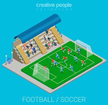 campo di calcio: Calcio  calcio le partite concorrenza stadio. Sport stile di vita moderno appartamento 3D isometrico vettore web infografica. Giovane gente gioiosa squadra di campionato sportivo. Creativo collezione gente sportivi.