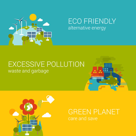 energy: Flat ecology, eco friendly, pollution, green planet concept. Vector icon banners template set. Alternative energy, excessive industrial pollution. Web illustration website click infographic elements.