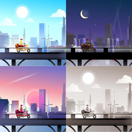 Sunset landscape vector: Flat cậu bé cưỡi xe đạp trên cảnh cây cầu bộ. Chọc trời thành phố hiện đại giao bánh pizza scape Phong cách sưu tập web banner. Ánh sáng ban ngày, ban đêm ánh trăng, ngắm cảnh hoàng hôn, retro cổ điển bức tranh màu nâu đỏ. Hình minh hoạ