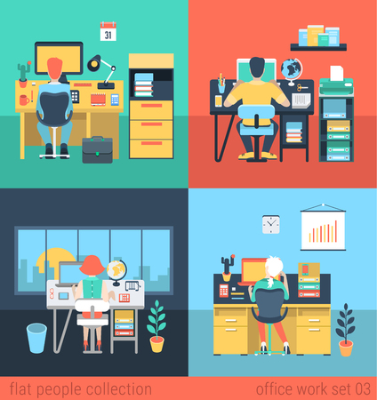lifestyle home: Set of young man woman freelance homework laptop table workplace. Flat people lifestyle situation work at home concept. Vector illustration collection of young creative humans.