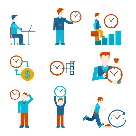 grow money: Flat style time is money business people figures infographics user interface icons set work rest grow time-management isolated vector illustration collection. Illustration