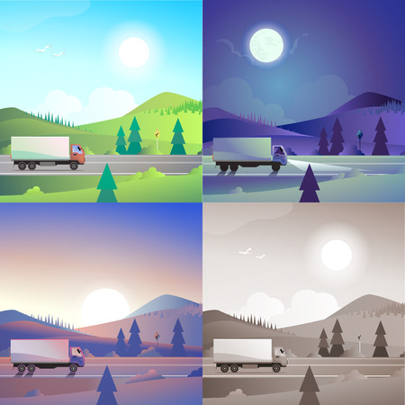 hilly: Flat landscape hilly mountains countryside road delivery truck transport scene set. Stylish web banner nature outdoor collection. Daylight, night moonlight, sunset view, retro vintage picture sepia.
