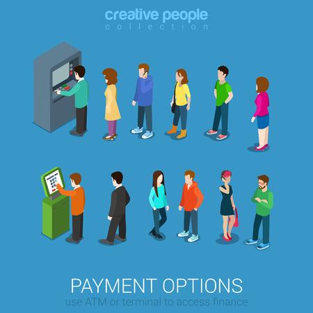 Les options de paiement bancaires de l'argent de la finance plat 3d isométrique vecteur web infographie. Ligne d'occasionnels jeunes hommes modernes femmes ATM et la borne d'attente. Creative collecte de personnes. Vecteurs