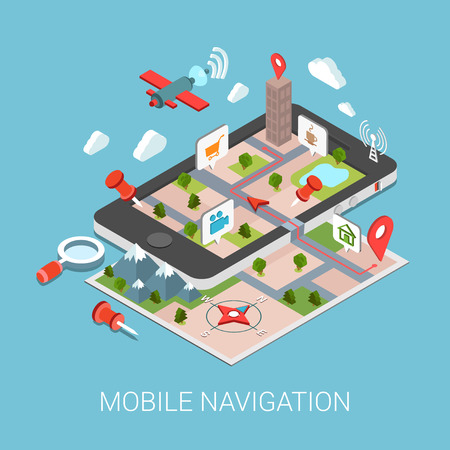 poi: Flat 3d isometric mobile navigation web infographic concept vector. Paper map touch screen gps tablet layer marker points POI satellite search magnifier city building route tracking pin street view.