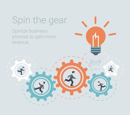 proceso: Estilo plana moderna del trabajo en equipo efectivo proceso, la fuerza de trabajo concepto plantilla infografía. Ilustración conceptual Web de la gente de negocios de innovación girar el mecanismo de engranaje rueda dentada iluminan idea lámpara icono. Vectores