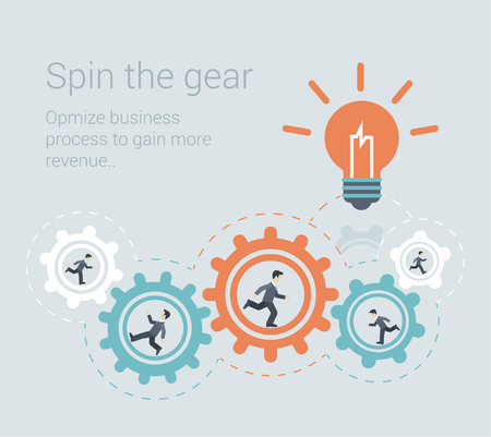 process: Flat style modern effective process teamwork, workforce infographic template concept. Conceptual web illustration business people innovation spin the cog wheel gear mechanism light up lamp idea icon.