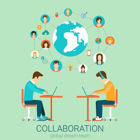 COLABORACION: Pareja de jóvenes equipo que trabaja en tablas con infografías portátiles. Piso de diseño de estilo concepto de ilustración vectorial colaboración en equipo. Colección conceptual 2D plana.