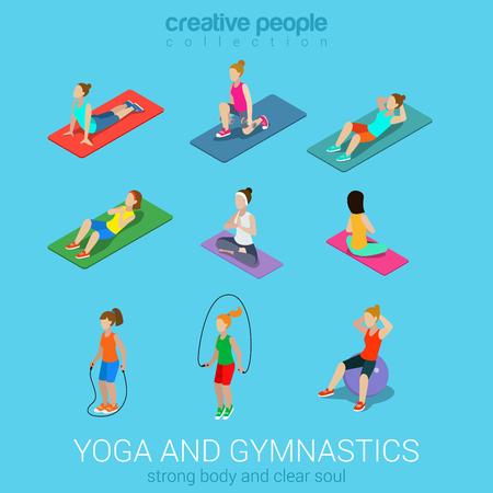 icono deportes: Se divierte a mujeres yoga gimnasia gym ejercicio del entrenamiento plana 3d web isométrica vector infografía. Conjunto del icono de las jóvenes en alfombras bolas saltando la cuerda. Recogida gente creativa.