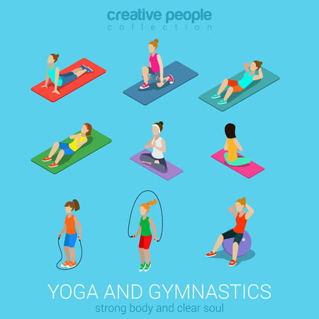 Sports women yoga gym gymnastics workout exercise flat 3d web isometric infographic vector. Icon set of young girls on carpets balls skipping rope. Creative people collection. Illustration