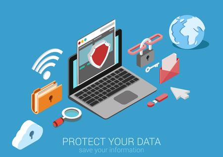 Piso web 3d seguridad en línea isométrica, protección de datos, conexión segura, la criptografía, antivirus, firewall, el intercambio de archivos de nube, la seguridad de Internet concepto infografía vector. Interfaz cifrar el portátil.