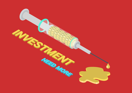 by shot: Flat 3d isometric concept web infographic investment process. Syringe with finance money coins injecting shot, golden puddle and gold drop. Conceptual vector for business funding addiction.