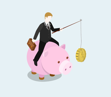 monetary: Financial bait flat 3d web isometric infographic concept vector. Businessman riding money bank with fishing rod and coin food to feed. Creative people financial monetary piggy bank savings collection. Illustration