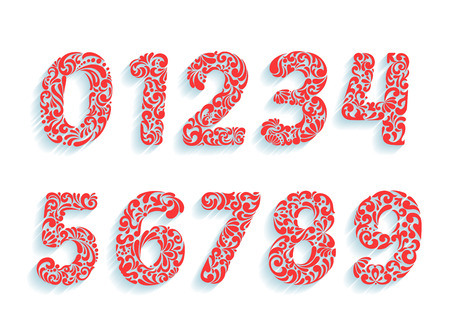 customizable: Decorative numbers font. Floral ornament in all number shapes from 0 to 9. Customizable typography elements template set.