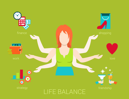 multitasking: Flat life balance many armed young woman abstract shiva lifestyle concept. Female figure with multi hands pointing to work income finance strategy love romance shopping friendship aspects.