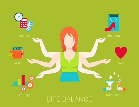 amicizia: life balance piatto molti armati giovane donna astratto Shiva concetto di lifestyle. Figura femminile con mani multi punta a lavorare reddito finanza strategia amore romanticismo aspetti dello shopping di amicizia.