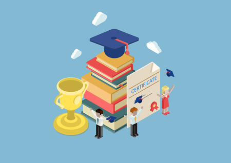 graduado: Educación Piso 3d web isométrica, certificado de graduación de la universidad, el conocimiento, ganador del trofeo infografía vector de concepto. Graduados grupo celebrando. Casquillo de la graduación en el montón de libros, taza, certificado.