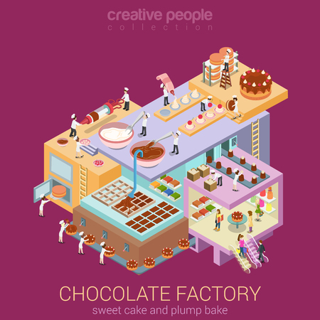 Flat 3d isometric abstract chocolate factory building floors interior departments concept vector. Confectionery workshop sweet bakery pastry cake creme brownie pie. Creative business people collection.