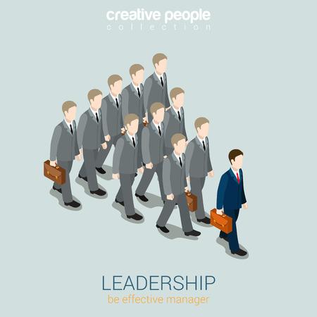 리더십 비즈니스 개념 플랫 3D 웹 아이소 메트릭 인포 그래픽 벡터입니다. 진한 파란색 사업가 회색 동료를지도한다. 창의적인 사람들의 컬렉션입니다.