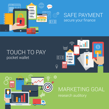 safe payment: Flat style web banner modern online business payment security icon set. Safe checkout touch to pay marketing goal banners. Website click infographics elements collection.