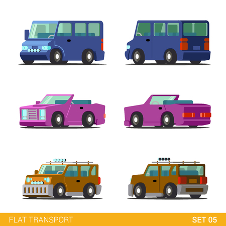 coupe: Flat 3d isometric funny road transport icon set. Minibus cabriolet convertible coupe universal family car. Build your own world web infographic collection.