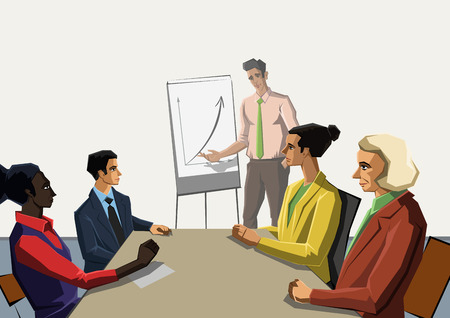 office presentation: Polygonal office life creative vector illustration. Business presentation.  Polygon people collection.