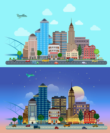 business buildings: Flat cartoon city set day and night. Road highway avenue transport street traffic before line of buildings skyscrapers business center offices. Urban life lifestyle collection.
