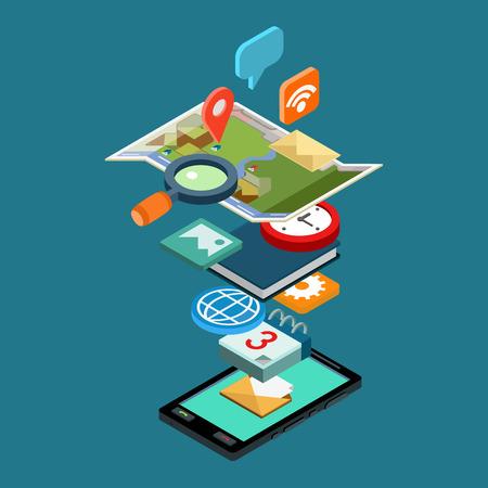 플랫 스타일의 3D 아이소 메트릭 벡터 그림 개념 스마트 폰 앱 아이콘. 모바일 애플리케이션, 개발, 다운로드, 설치, 사용에 대 한 개념입니다. 지도, 채