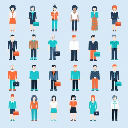 사람: 캐주얼 의류 아이콘 상황 웹 템플릿 인포 그래픽 벡터 아이콘 플랫 스타일 현대인 설정합니다. 남성 여성 라이프 스타일 아이콘. 검정, 흰색, 젊은 세, 사업가 및 교사, 일러스트