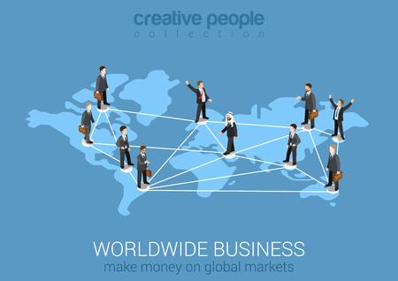 Worldwide business network flat 3d isometric modern concept Illustration