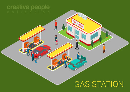 refilling: Gas petroleum petrol refill station cars and customers flat 3d web isometric infographic concept vector. Refilling cleaning shopping service. Petroleum creative people collection. Illustration