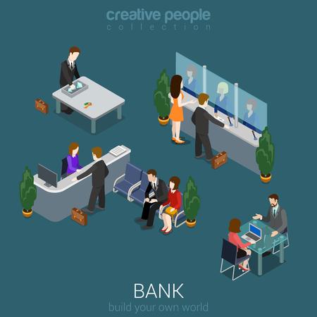 사람들: 플랫 3D 아이소 메트릭 추상 은행 사무실 건물 바닥 인테리어 세부 요소 개념 벡터. 카운터 책상, 점원, 볼트, 관리자, cashdesk, 환전. 창의적인 사람들의 컬렉션입니다. 일러스트