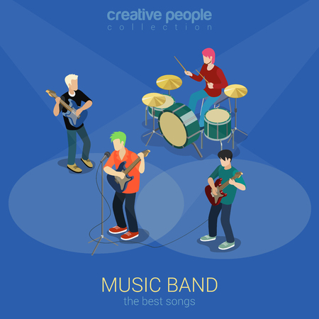 scene: Rock music band flat 3d web isometric infographic concept vector. Group of creative young people playing on instruments impressive scene concert. Creative people collection.